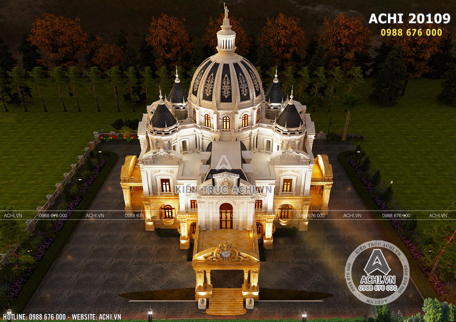 Toàn cảnh mẫu thiết kế dinh thự lâu đài kiểu Pháp rộng 300m2 khi nhìn từ trên cao xuống