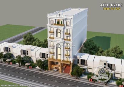 Toàn cảnh không gian ngoại thất mẫu thiết kế nhà phố đẹp mặt tiền 10m