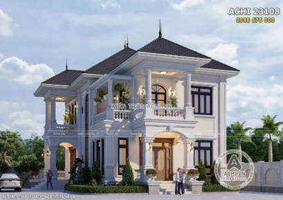 Thiết kế biệt thự 2 tầng đẹp 150m2 tại Vĩnh Long - ACHI 23108