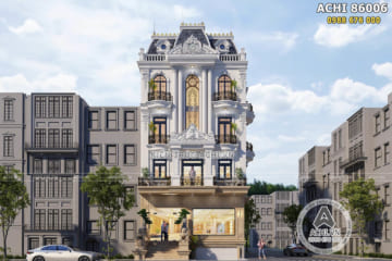 Thiết kế nhà phố tân cổ điển kết hợp văn phòng mặt tiền 9m – ACHI 86006