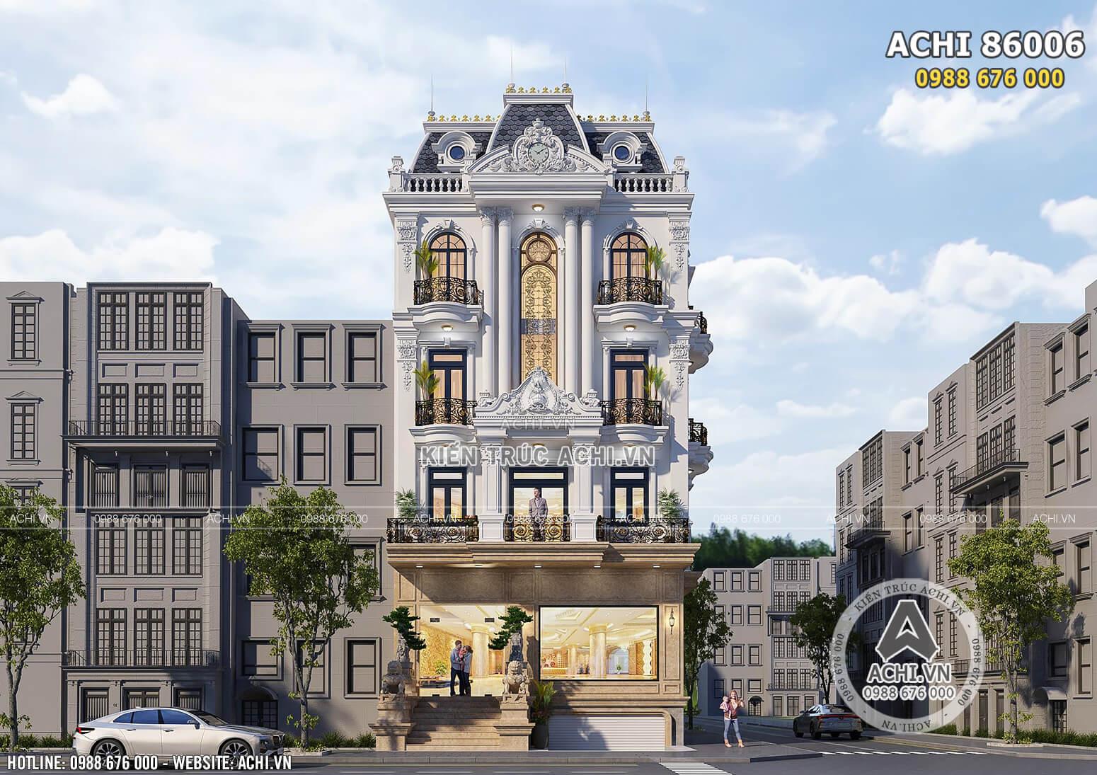 Không gian mặt tiền mẫu thiết kế biệt thự nhà phố tân cổ điển