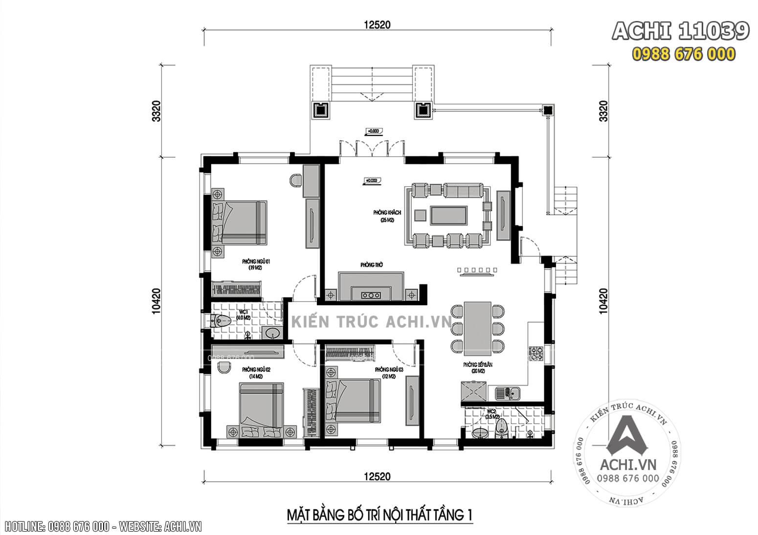 Bản vẽ mặt bằng tầng 1 mẫu biệt thự tai Chương Mỹ