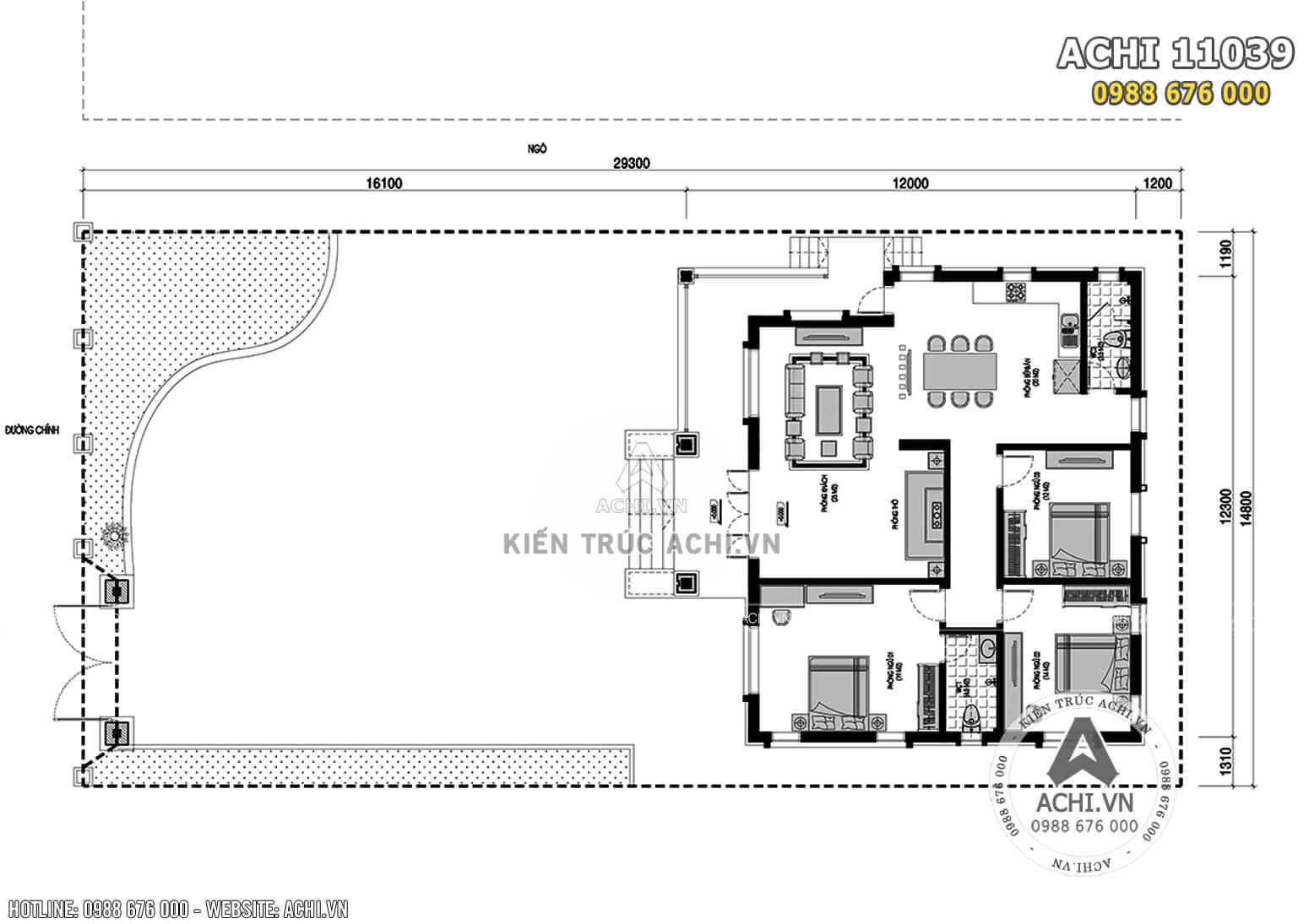 Bản vẽ tổng mặt bằng tầng 1 mẫu biệt thự tai Chương Mỹ