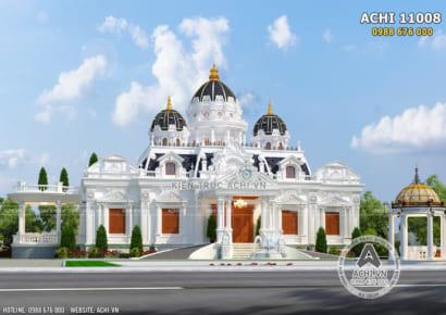 Phối cảnh 3D ngoại thất mặt tiền mẫu thiết kế dinh thự lâu đài 300m2
