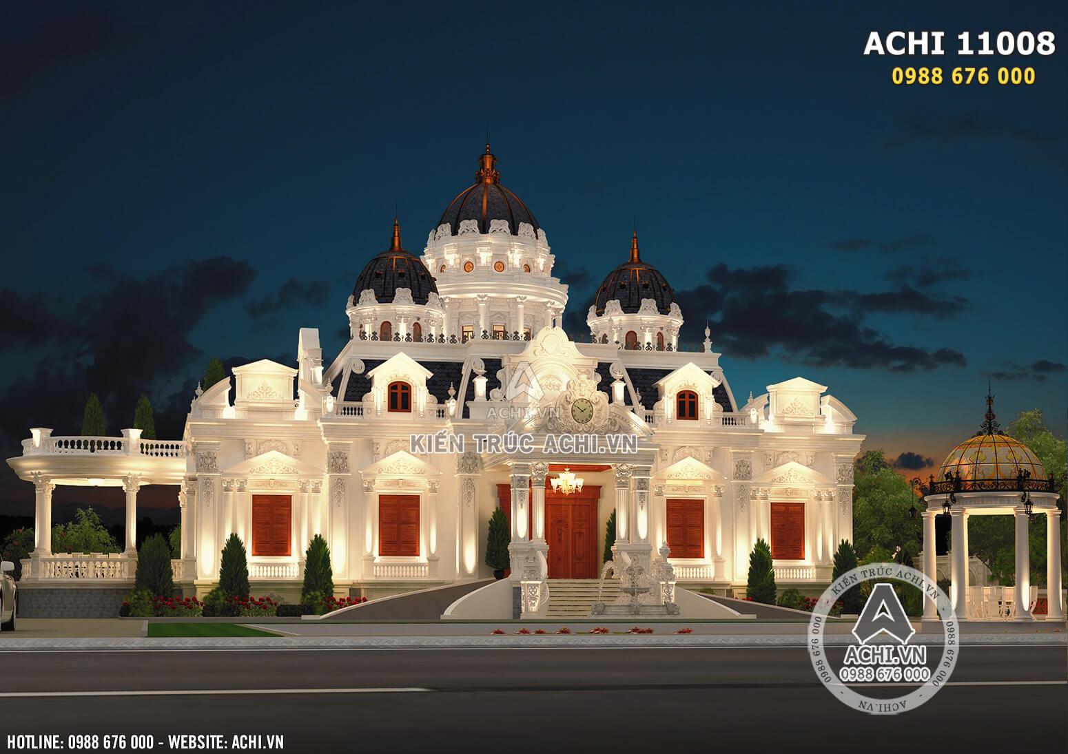Không gian mặt tiền mẫu thiết kế biệt thự lâu đài Pháp đẹp cuốn hút, quyến rũ