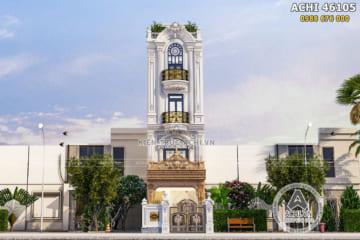 Thiết kế nhà ống mặt tiền 5m tân cổ điển 4 tầng đẹp tại Hà Nội – ACHI 46105