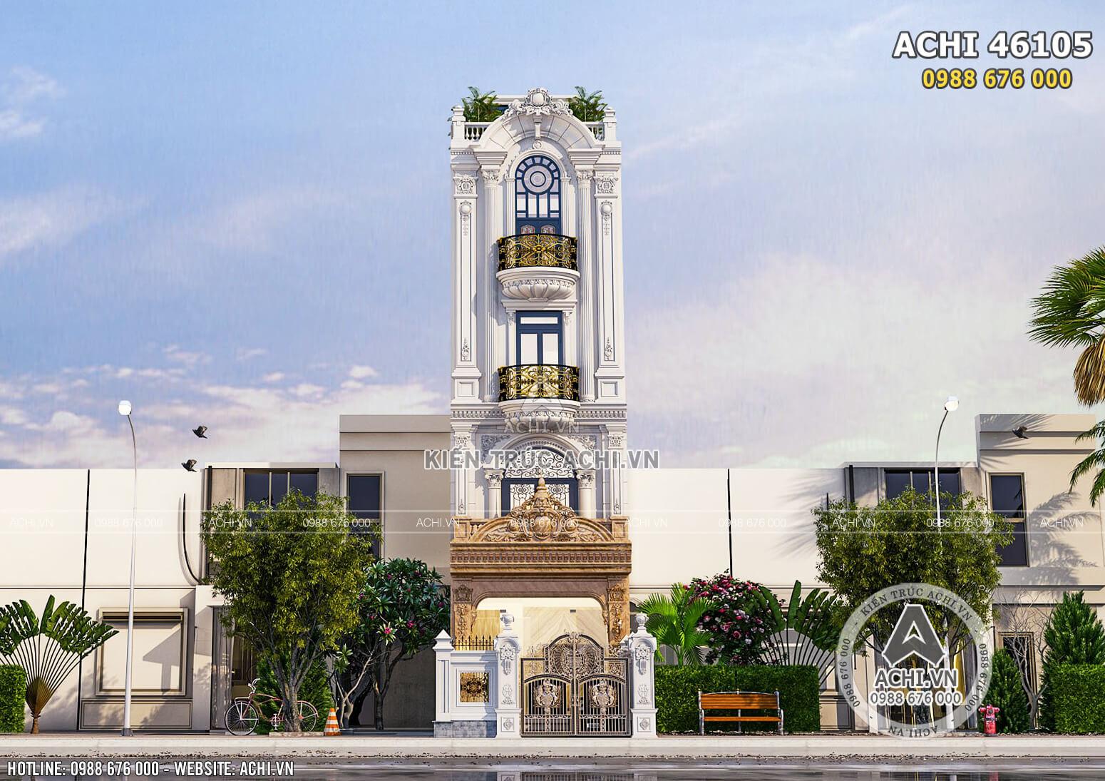 Không gian mặt tiền mẫu thiết kế biệt thự tân cổ điển đẹp tại Hà Nội
