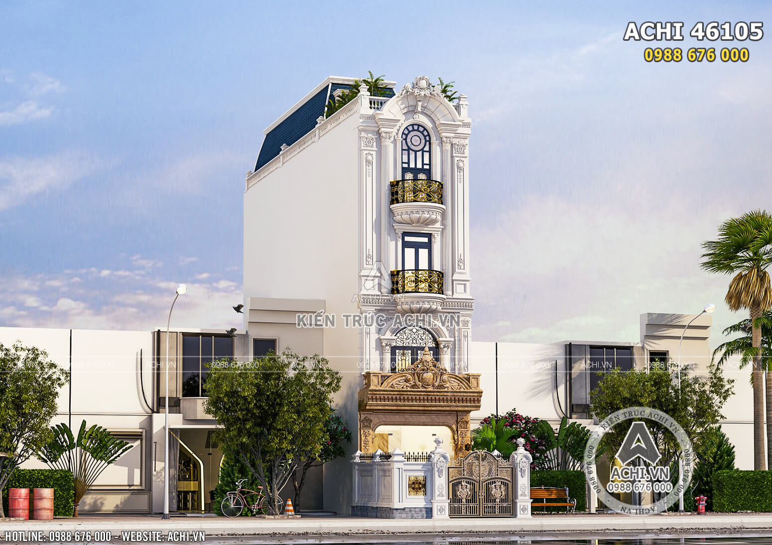Một góc view đẹp mẫu thiết kế biệt thự nhà phố tân cổ điển