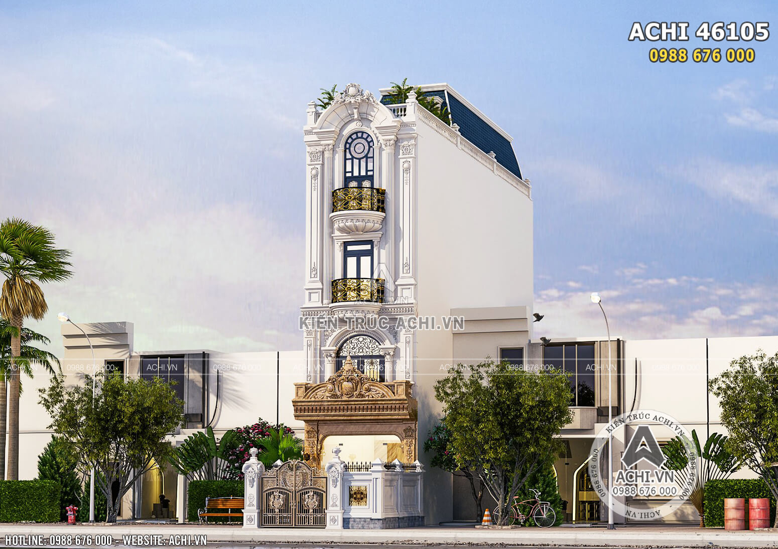 Phối cảnh 3D ngoại thất mẫu thiết kế nhà phố mặt tiền 4 m2 tại Hà Nội