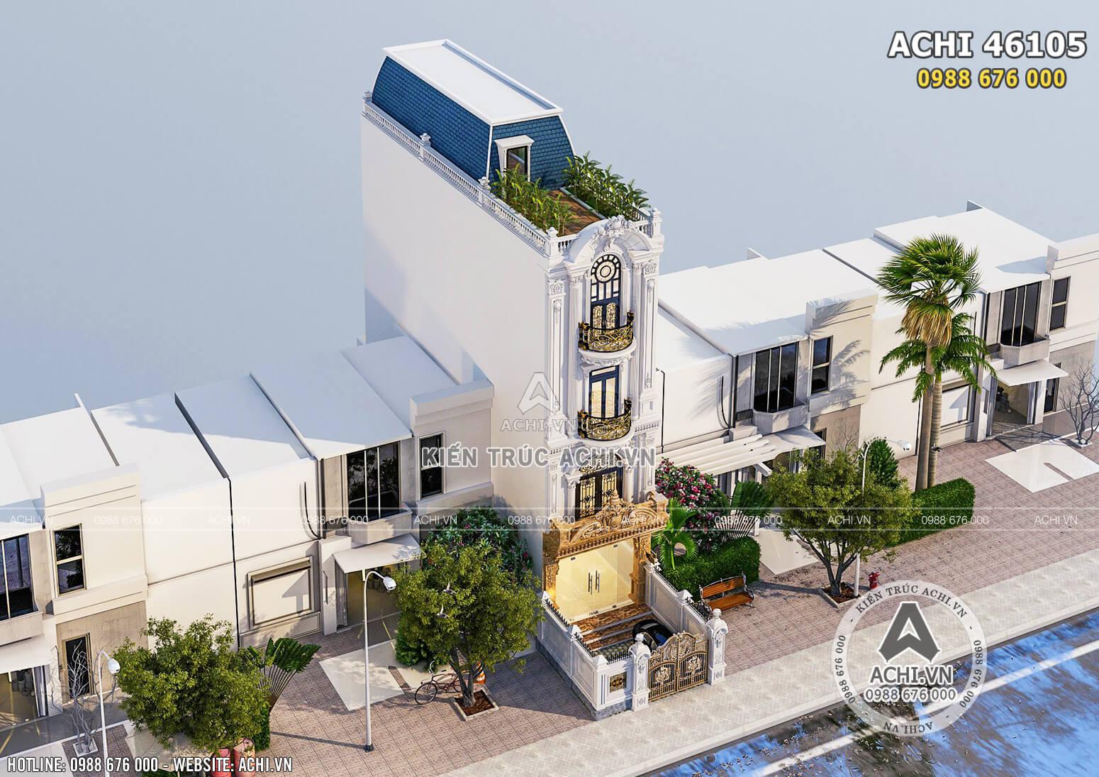 Thiết kế nhà ống mặt tiền 5m tân cổ điển 4 tầng đẹp tại Hà Nội - ACHI 46105