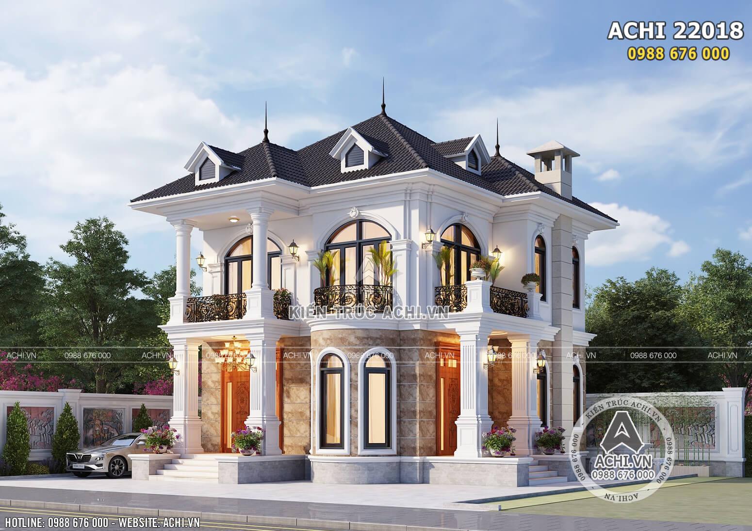 Phối cảnh 3D không gian ngoại thất mẫu thiết kế biệt thự 2 tầng mái Thái đẹp