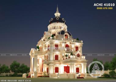 Ý tưởng xây dựng mẫu biệt thự lâu đài 4 tầng tân cổ điển đẹp – ACHI 41010