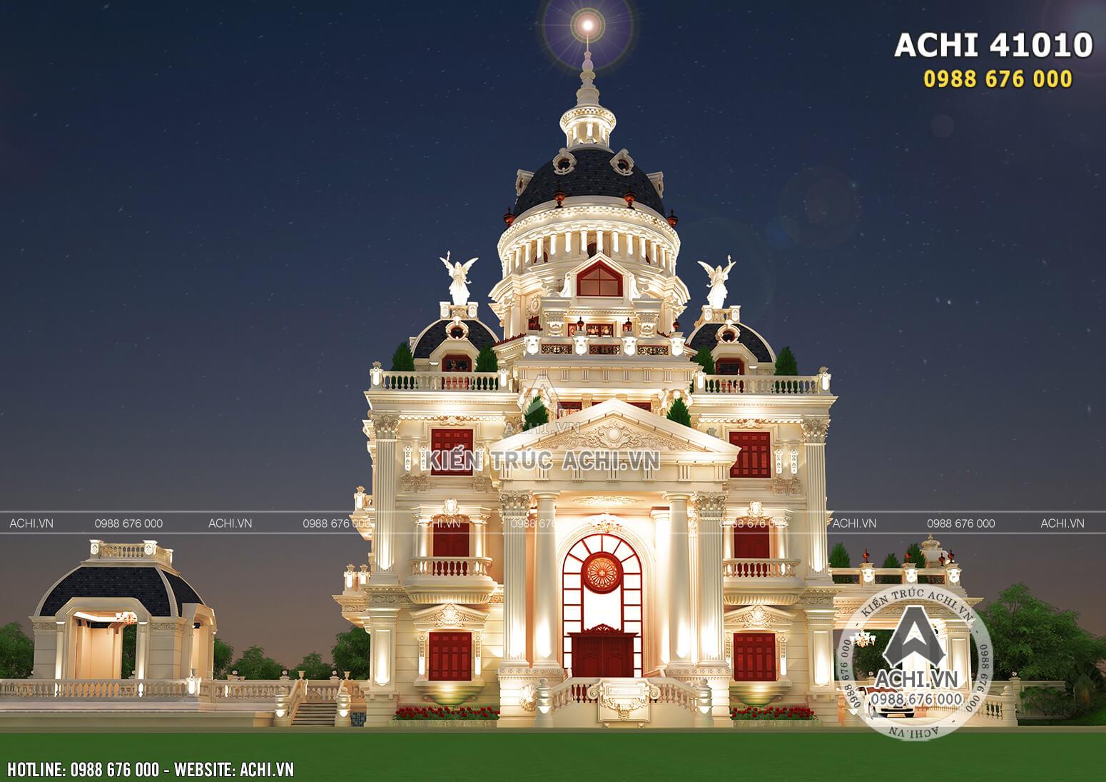 Hình ảnh: Tổng thể kiến trúc tân cổ điển của mẫu biệt thự lâu đài 4 tầng