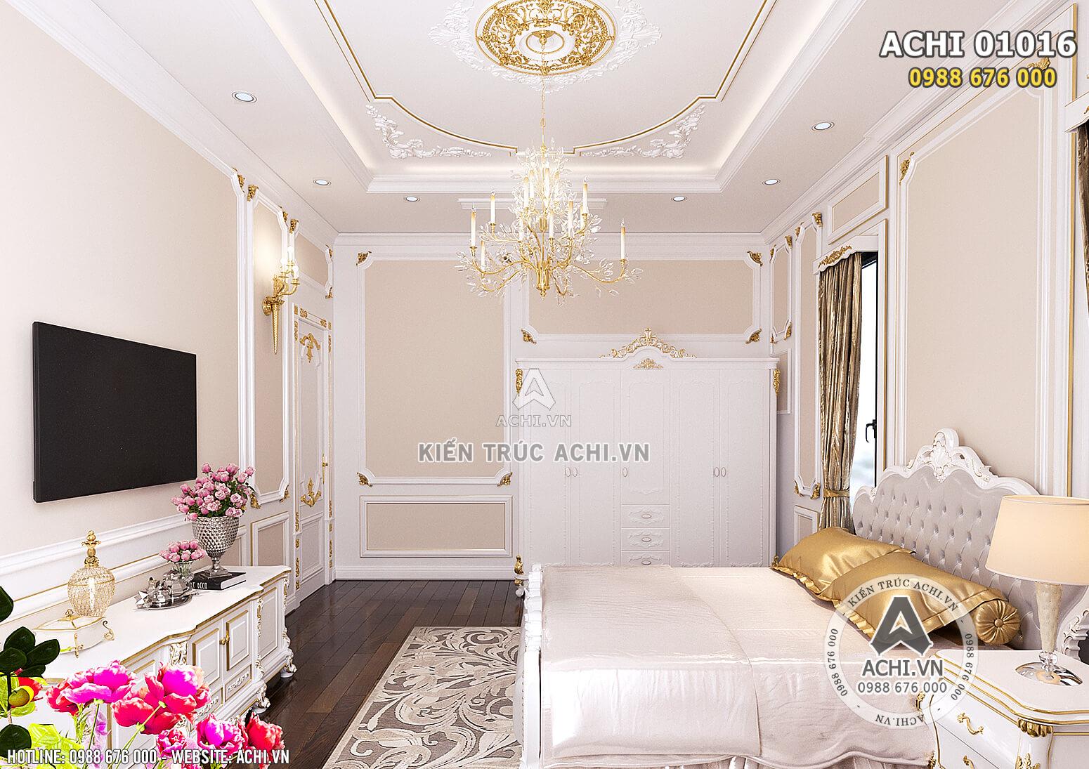 Hình ảnh: Không gian phòng ngủ Master được trang bị các món đồ nội thất xa xỉ từ Pháp - ACHI 01016