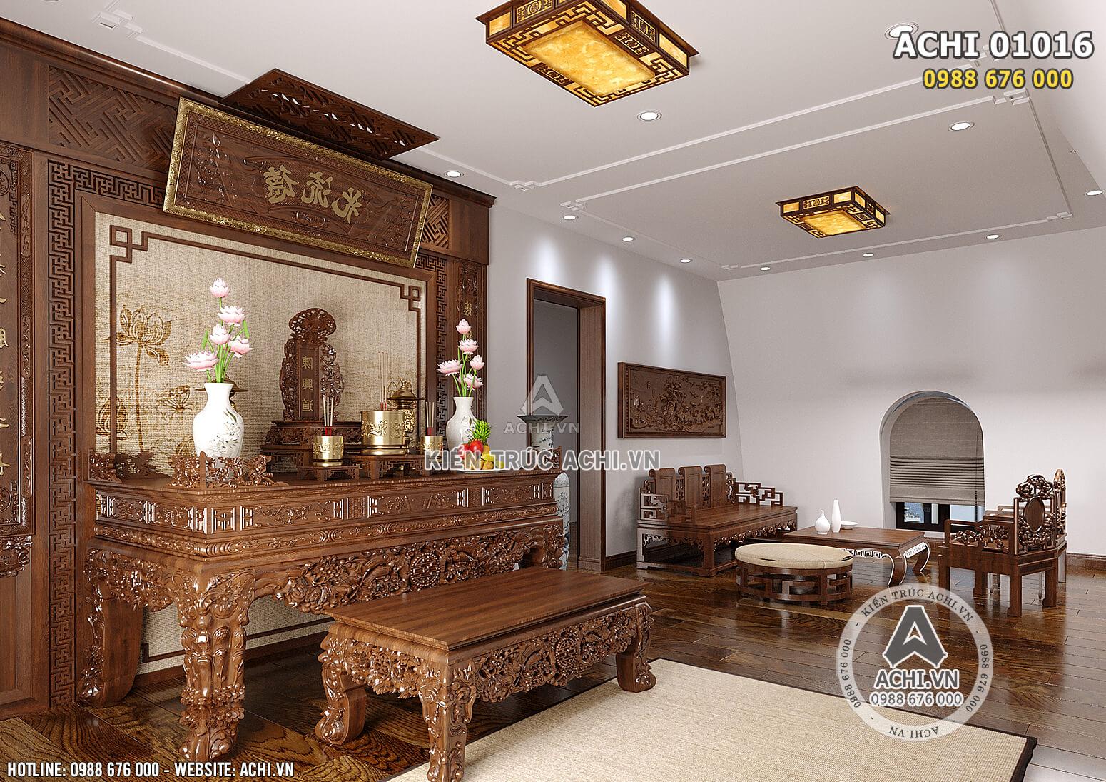 Hình ảnh: Thiết kế nội thất gỗ cho không gian phòng ngủ cho phòng thờ - ACHI 01016