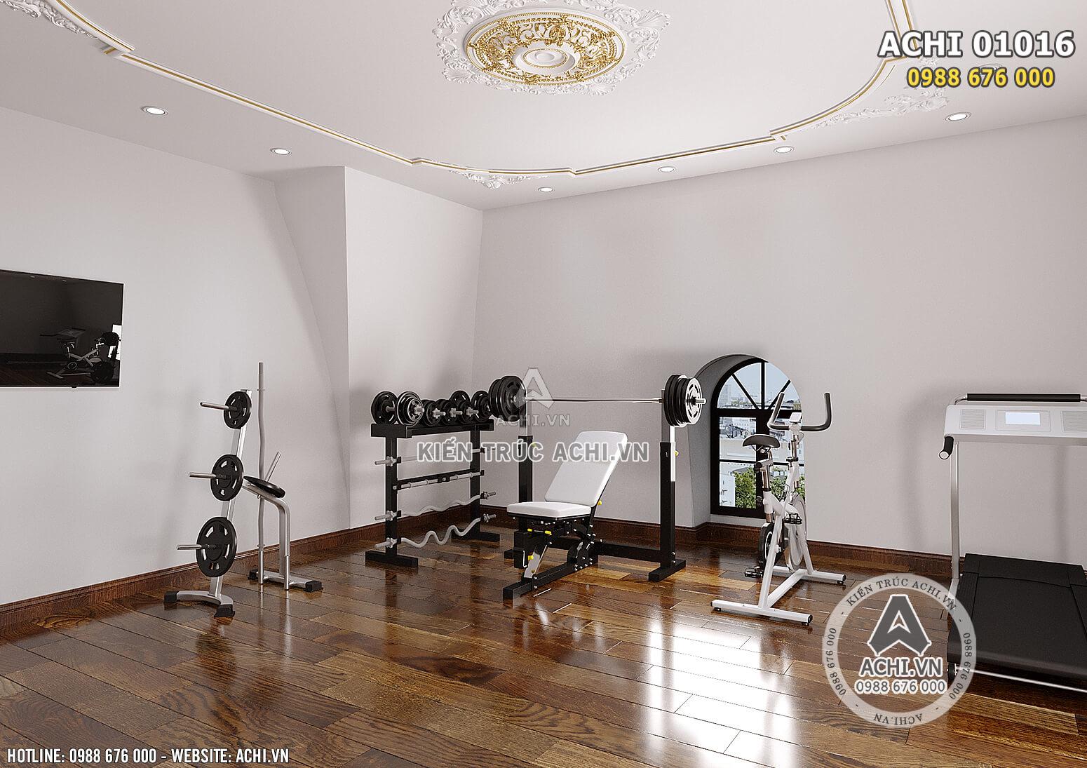 Hình ảnh: Thiết kế nội thất phòng gym không khác gì so với các phòng tập ngoài - ACHI 01016