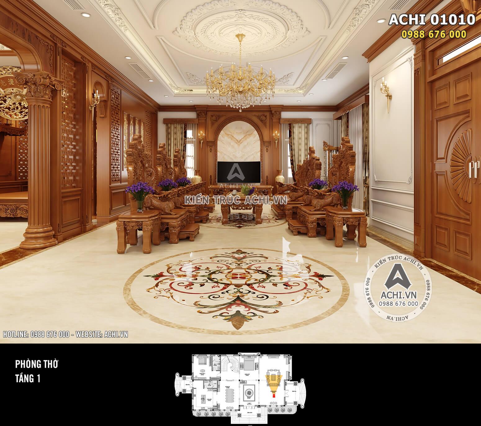 Hình ảnh: Thiết kế nội thất tân cổ điển - Phòng khách bằng gỗ - 02