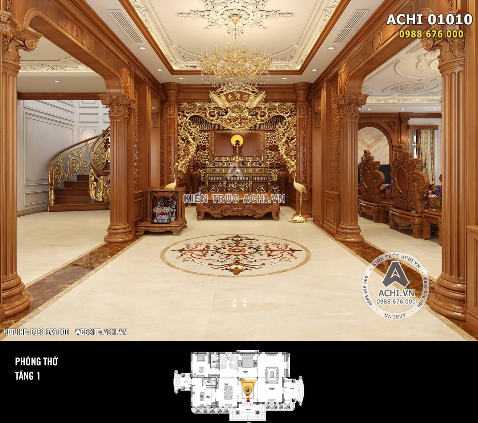 Hình ảnh: Thiết kế nội thất tân cổ điển - Phòng thờ bằng gỗ - 01