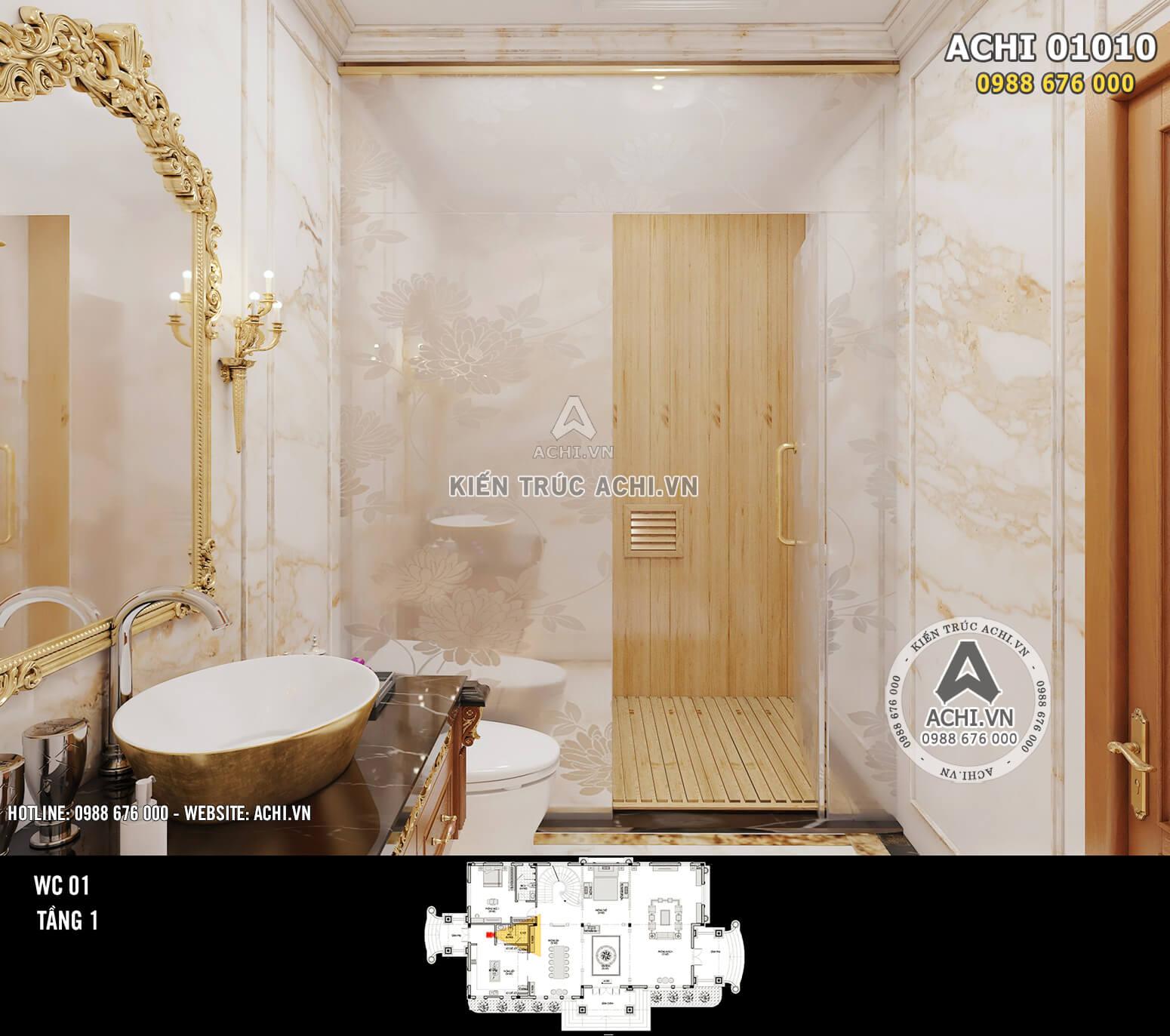 Hình ảnh: Thiết kế nội thất tân cổ điển - Phòng WC 1 - Tầng 1 - 02