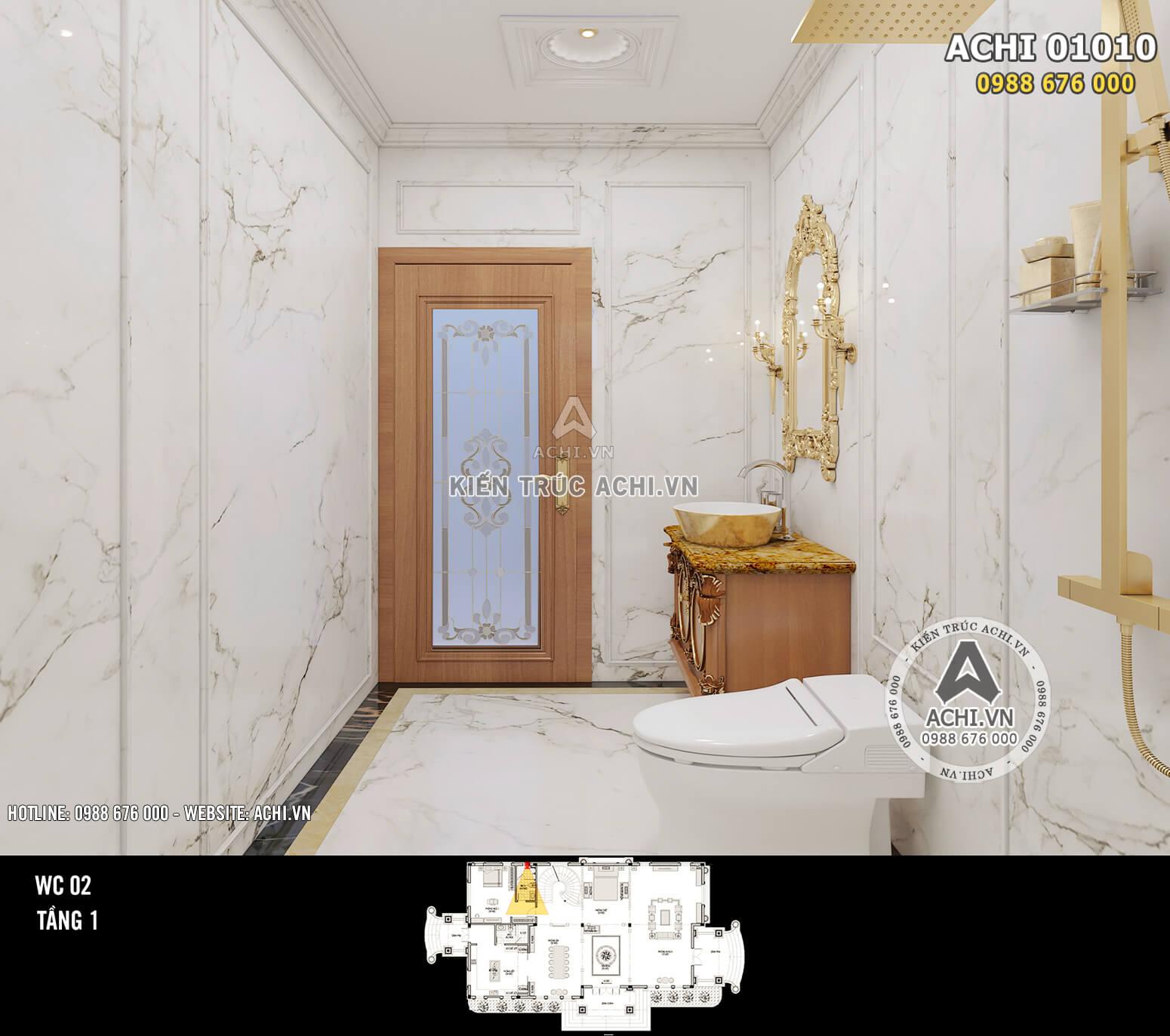 Hình ảnh: Thiết kế nội thất tân cổ điển - Phòng WC 2 - Tầng 1 - 02