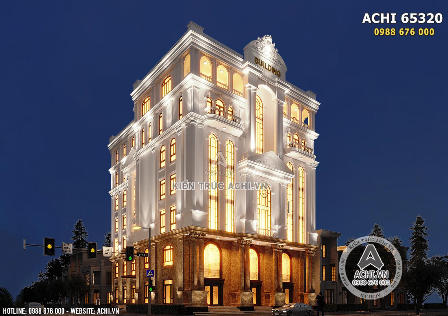 Hình ảnh: Tòa nhà văn phòng 7 tầng 2 mặt tiền được thiết kế theo lối kiến trúc tân cổ điển