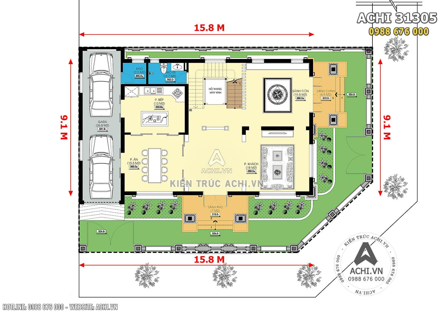 Hình ảnh: Mặt bằng công năng tầng 1 của mẫu biệt thự 3 tầng tân cổ điển đẹp
