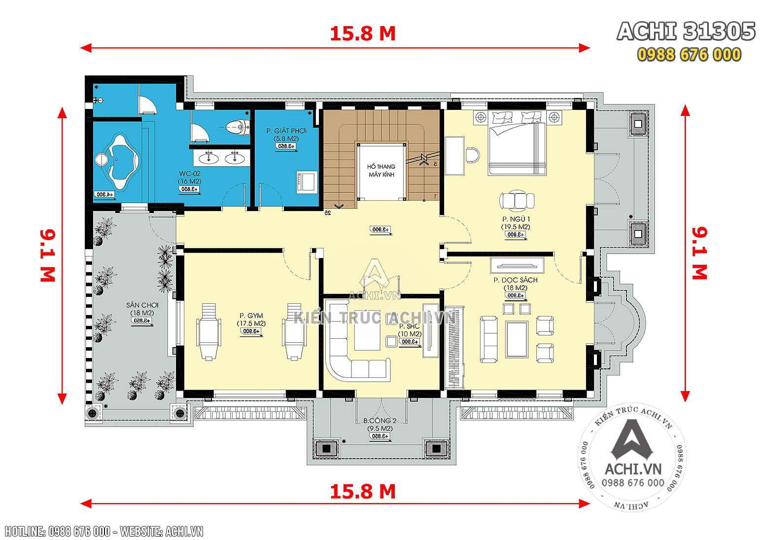 Hình ảnh: Mặt bằng công năng tầng 2 của mẫu biệt thự 3 tầng tân cổ điển đẹp