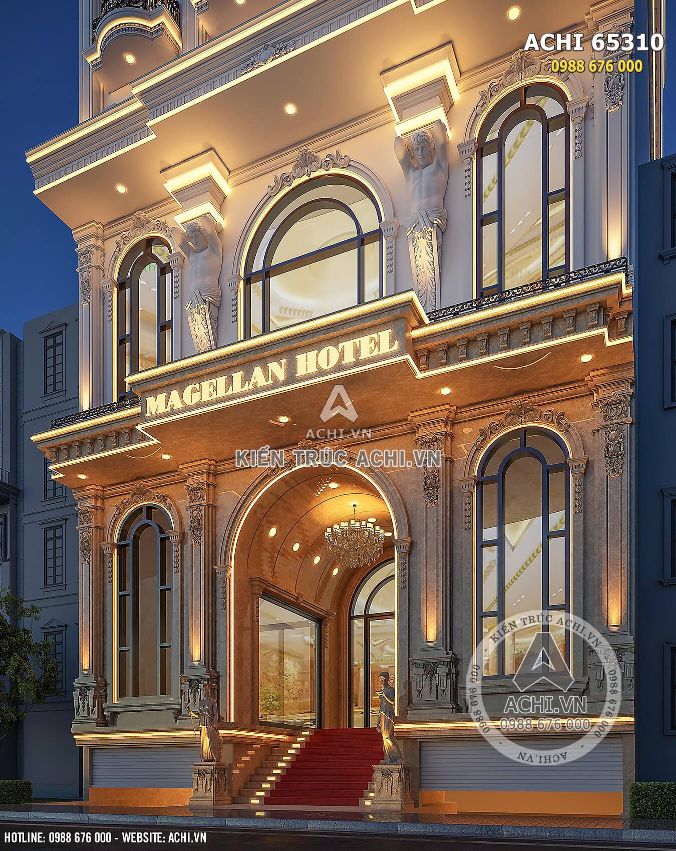 Cận cảnh không gian sảnh mẫu thiết kế khách sạn tân cổ điển 4 sao