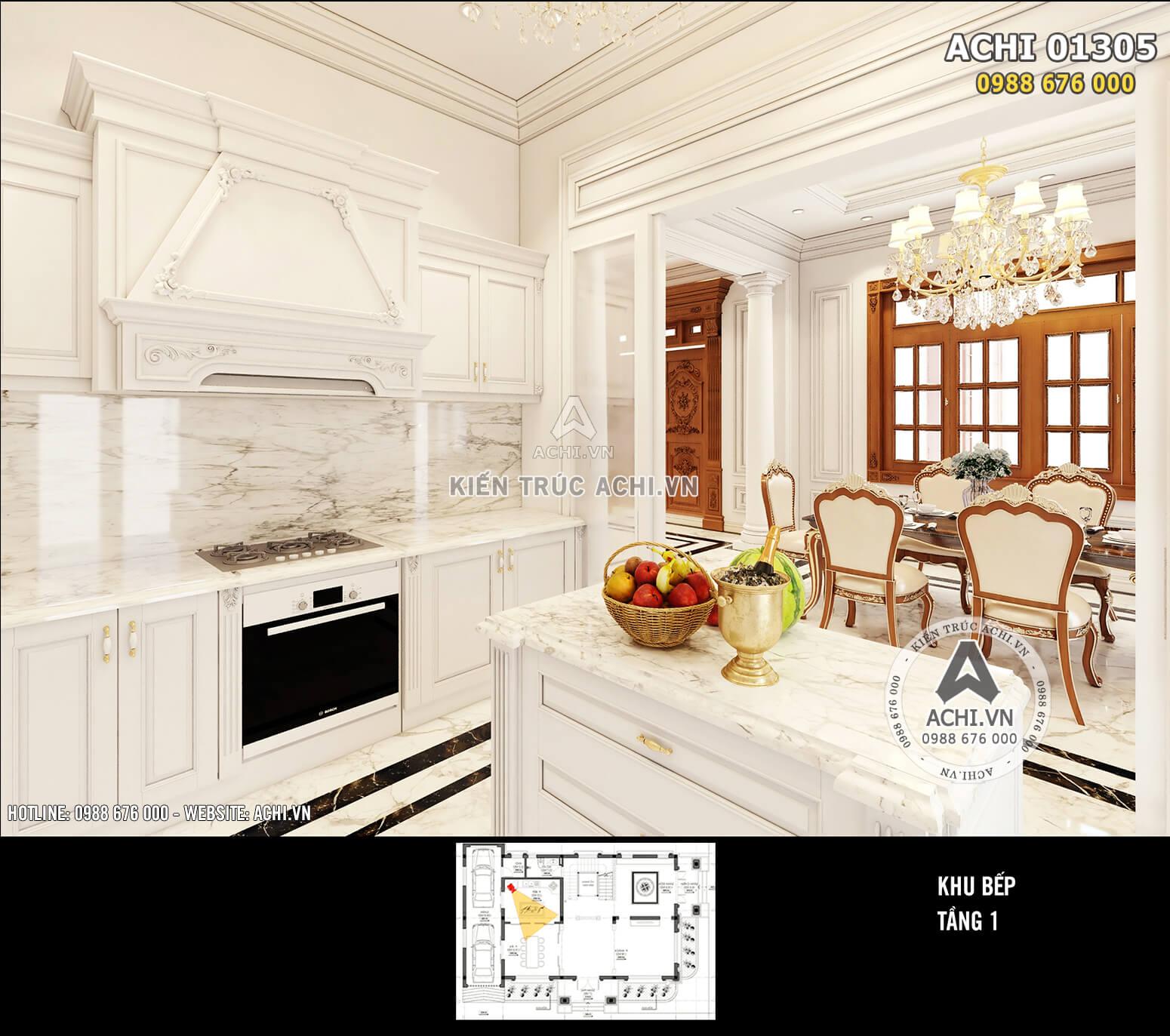 Một góc view không gian bếp và phòng ăn sang trọng, lịch lãm