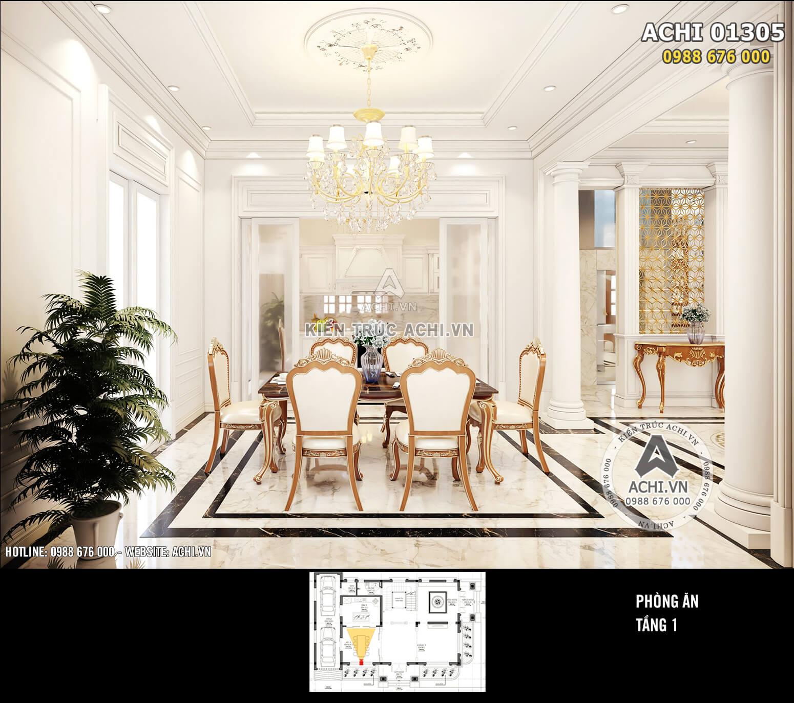 Thiết kế nội thất phòng ăn tân cổ