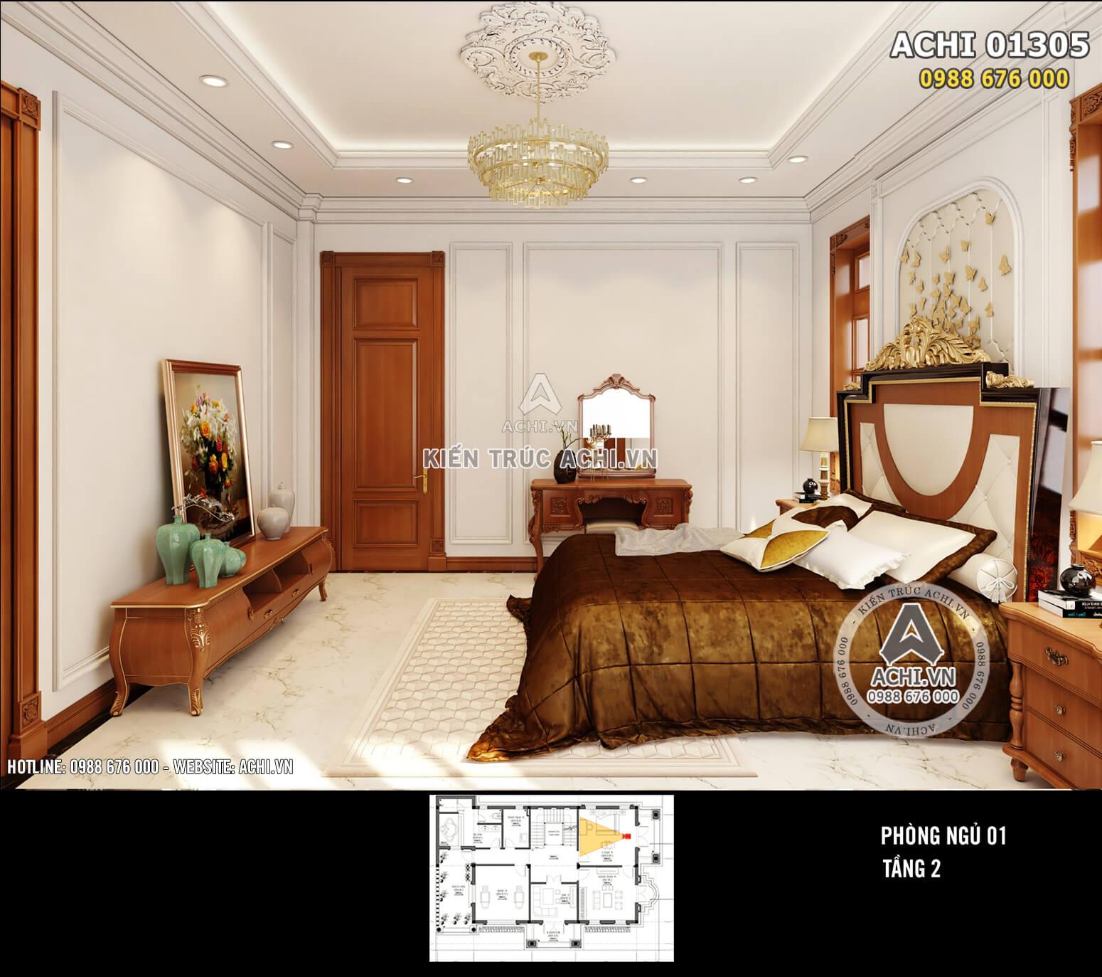 Thiết kế nội thất phòng ngủ với điểm nhấn là chiếc giường tiện nghi