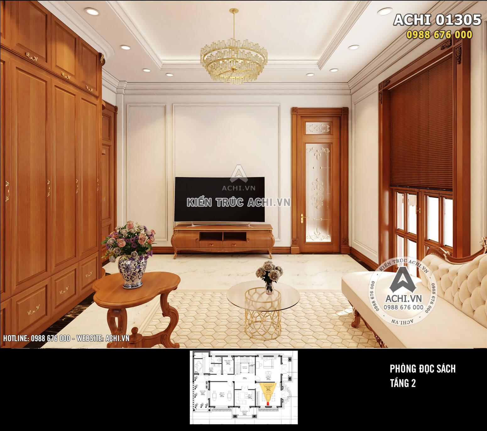 Hệ phào chỉ thạch cao kết hợp với đồ nội thất gỗ giúp không gian phòng thoáng đãng