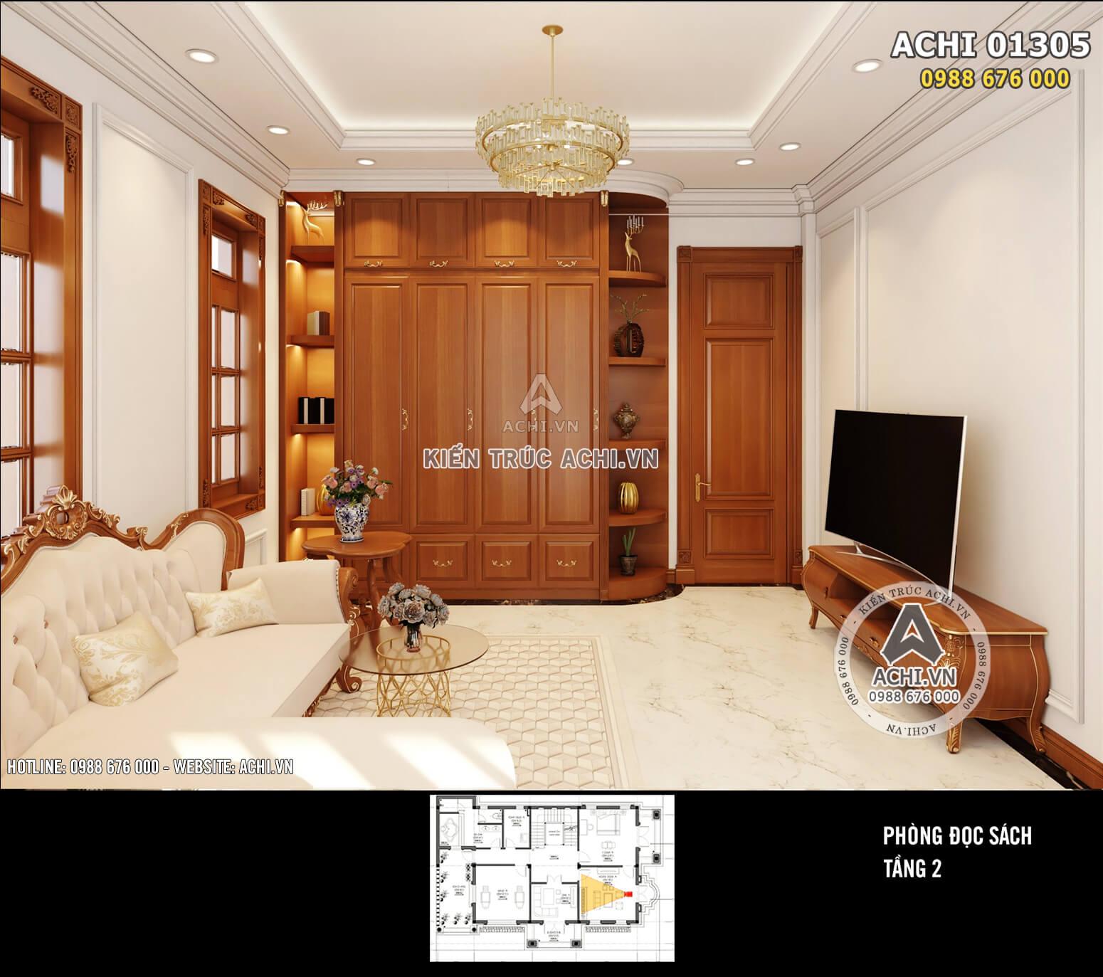 Thiết kế nội thất phòng đọc sách nhiều ánh sáng, yên tĩnh, tiện nghi