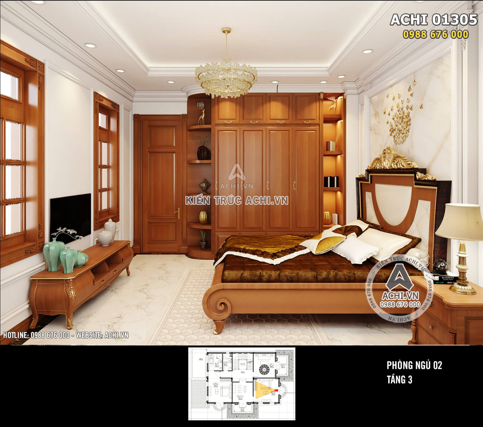 Phòng ngủ 02 được thiết kế tối giản nhưng tiện nghi, sang trọng