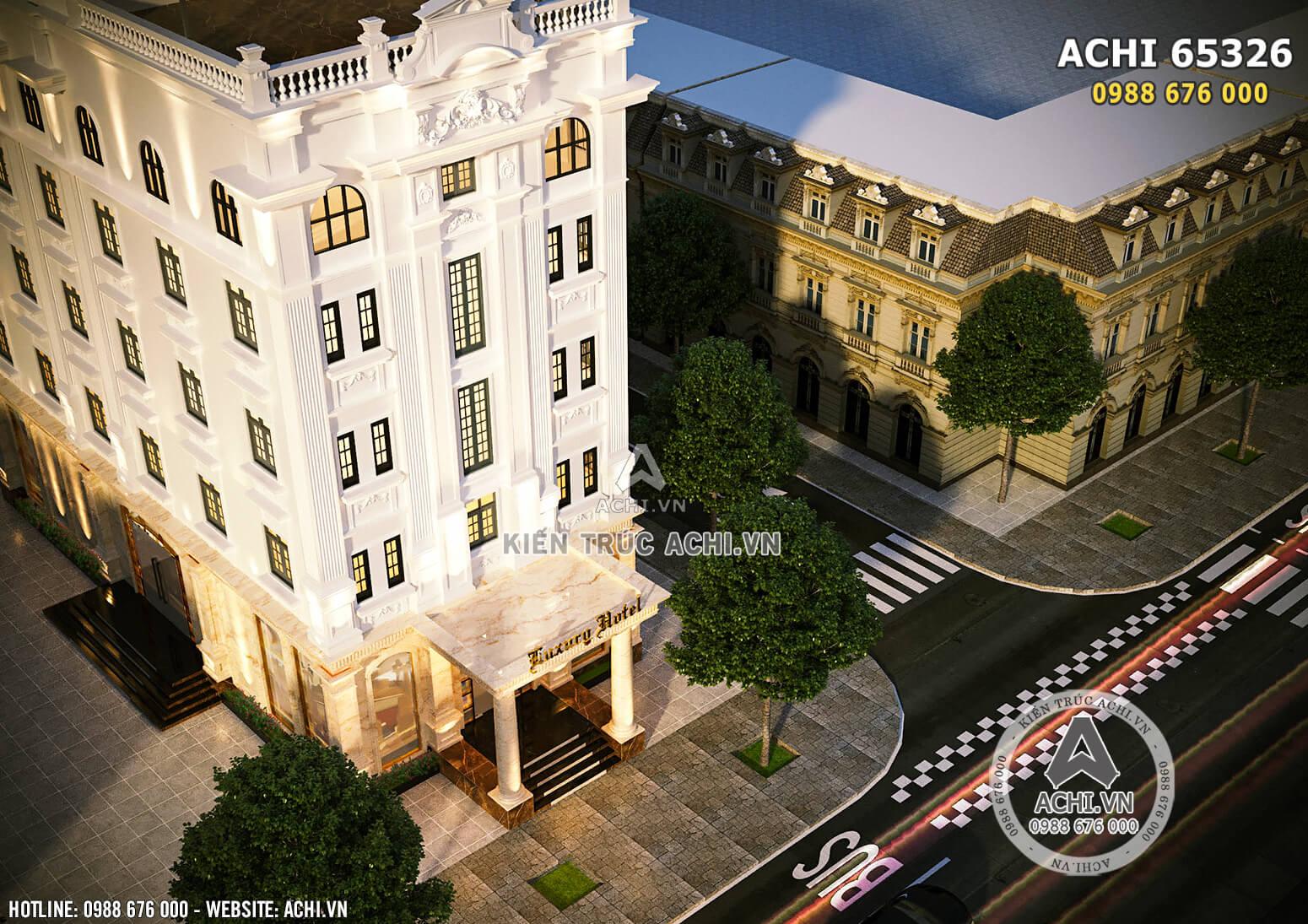 Hình ảnh: Góc nhìn từ bên trên xuống của thiết kế khách sạn mini 5 tầng đẹp