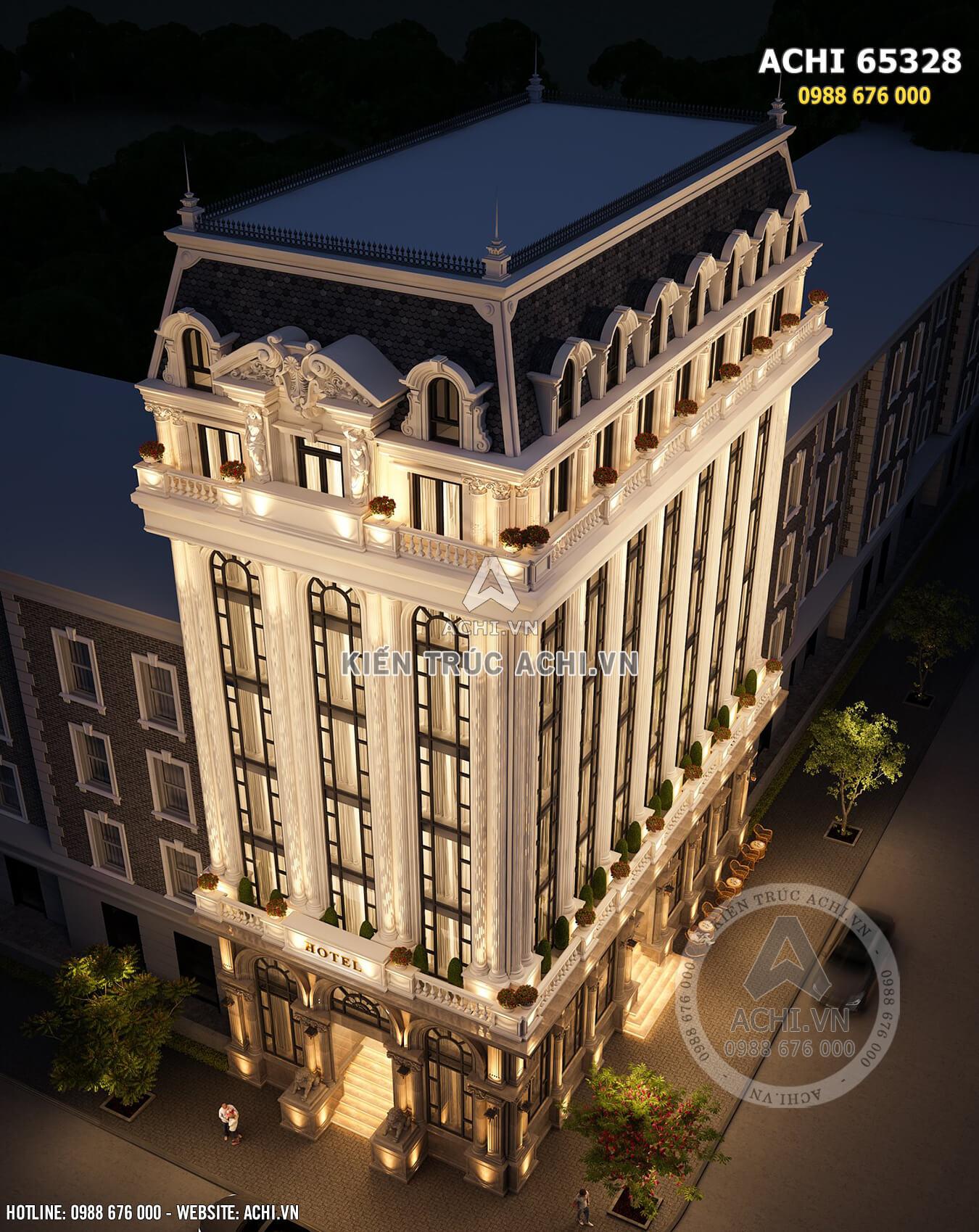 Hình ảnh: Góc nhìn toàn cảnh từ trên cao xuống của mẫu thiết kế khách sạn 5 sao