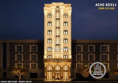 Phối cảnh 3D mặt tiền tòa nhà kinh doanh thương mại tân cổ điển xa hoa