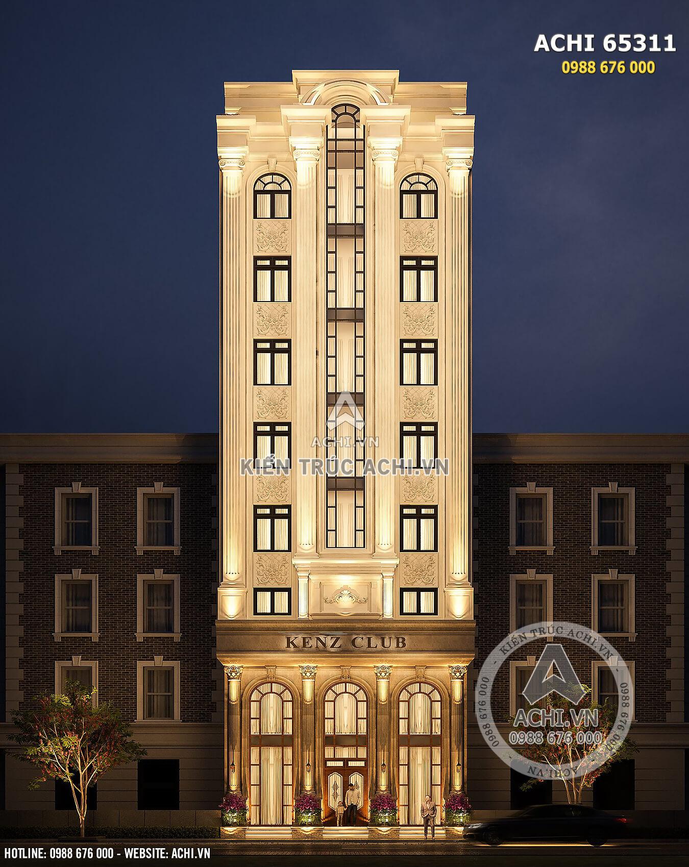 Toàn cảnh không gian mặt tiền mẫu thiết kế tòa nhà kinh doanh kiến trúc tân cổ điển