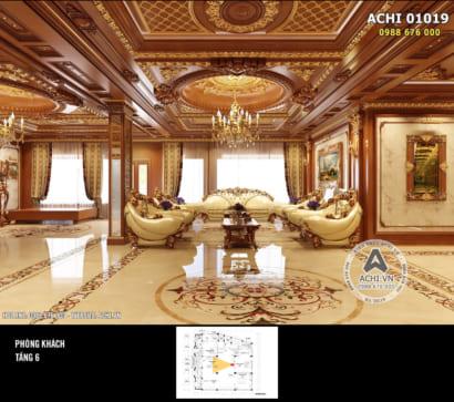 Hình ảnh: Không gian phòng khách tân cổ điển bằng gỗ xa hoa – ACHI 01019