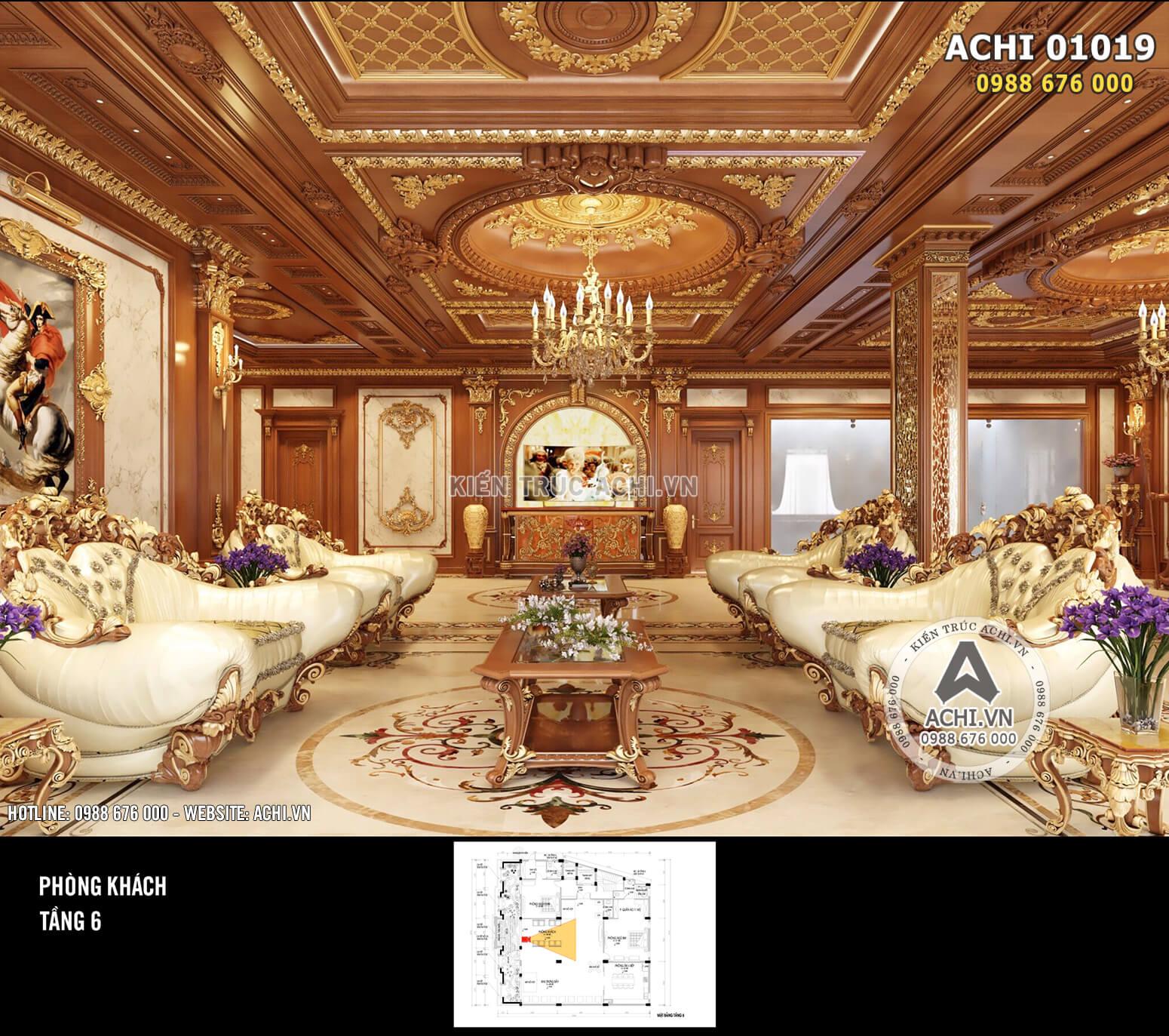 Hình ảnh: Phòng khách được thiết kế hoành tráng và lộng lẫy, khẳng định đẳng cấp của chủ đầu tư