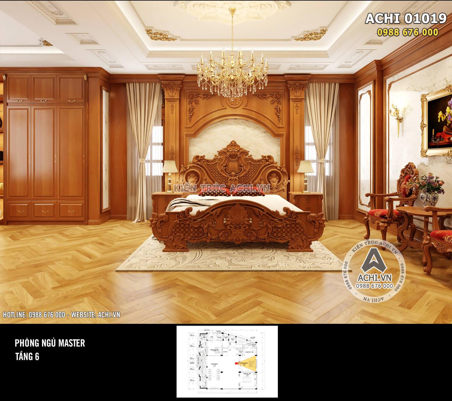 Hình ảnh: Thiết kế nội thất phòng ngủ tân cổ điển – ACHI 01019