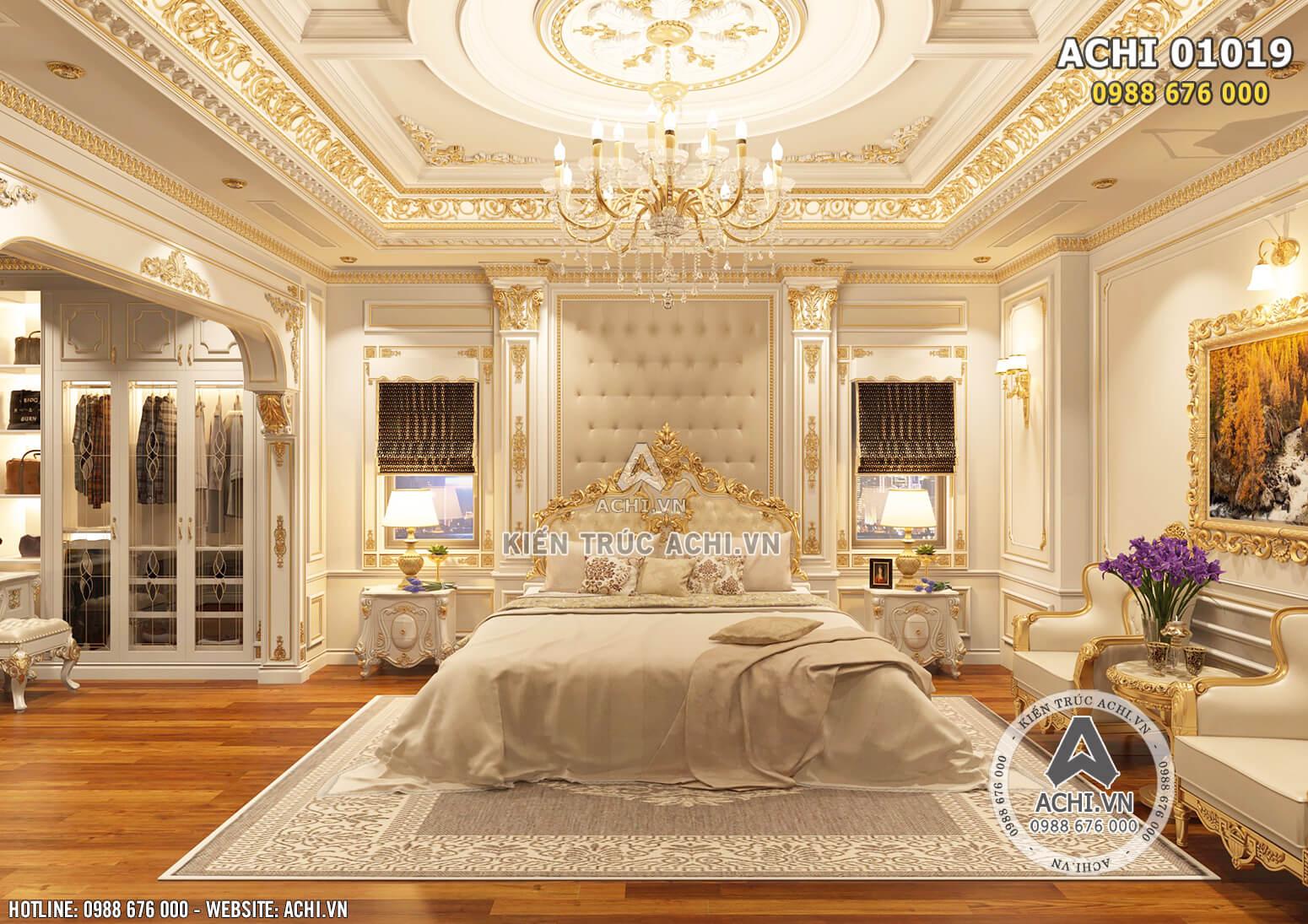 Hình ảnh: Không gian phòng ngủ 2 được thiết kế với tone trắng - vàng gold làm chủ đạo